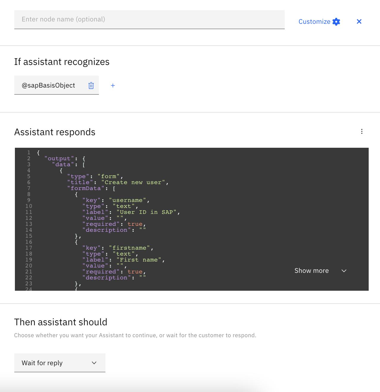 IBM Watson Assistant Dialog Node configuration