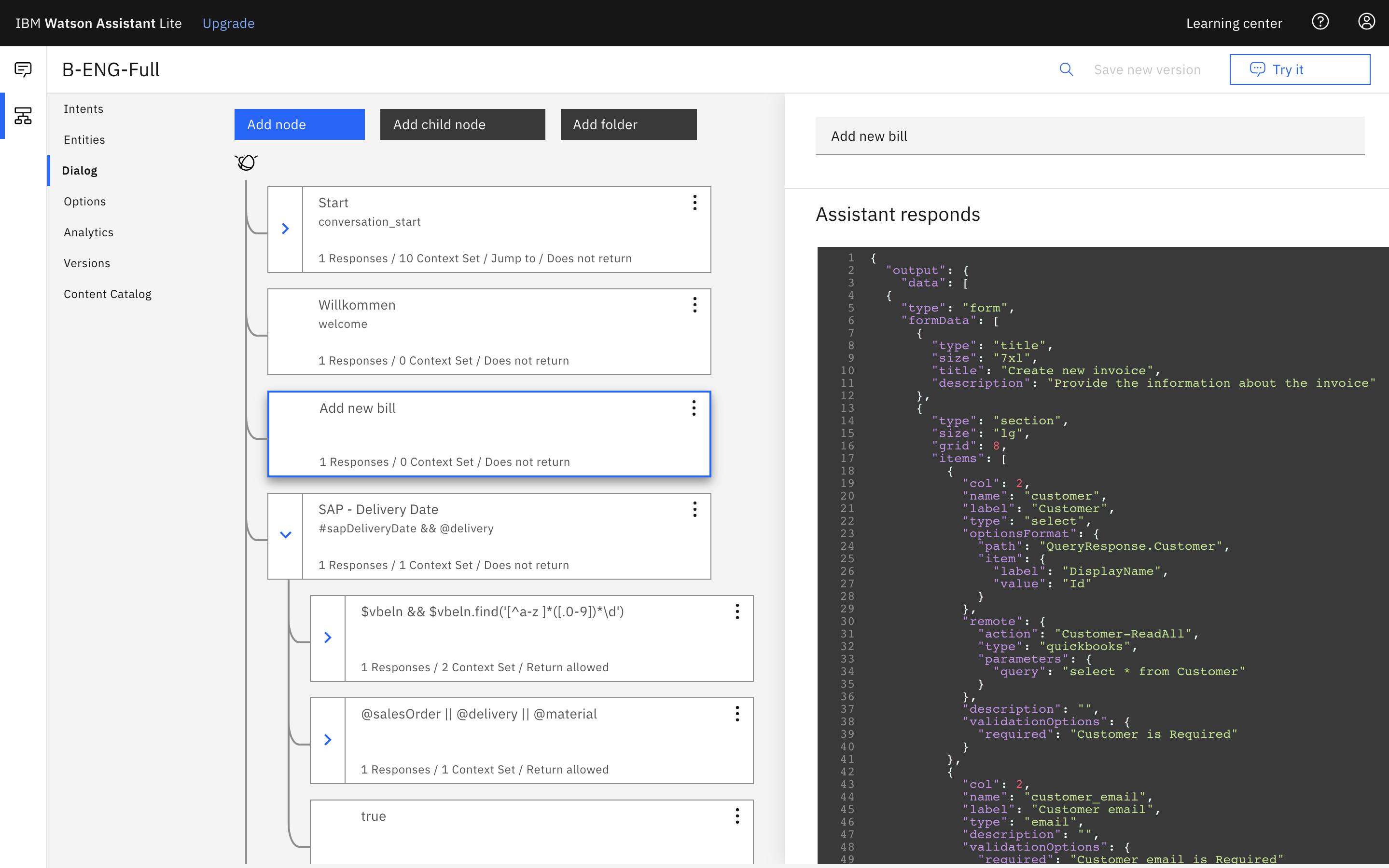 IBM Watson Assistant Dialog Node