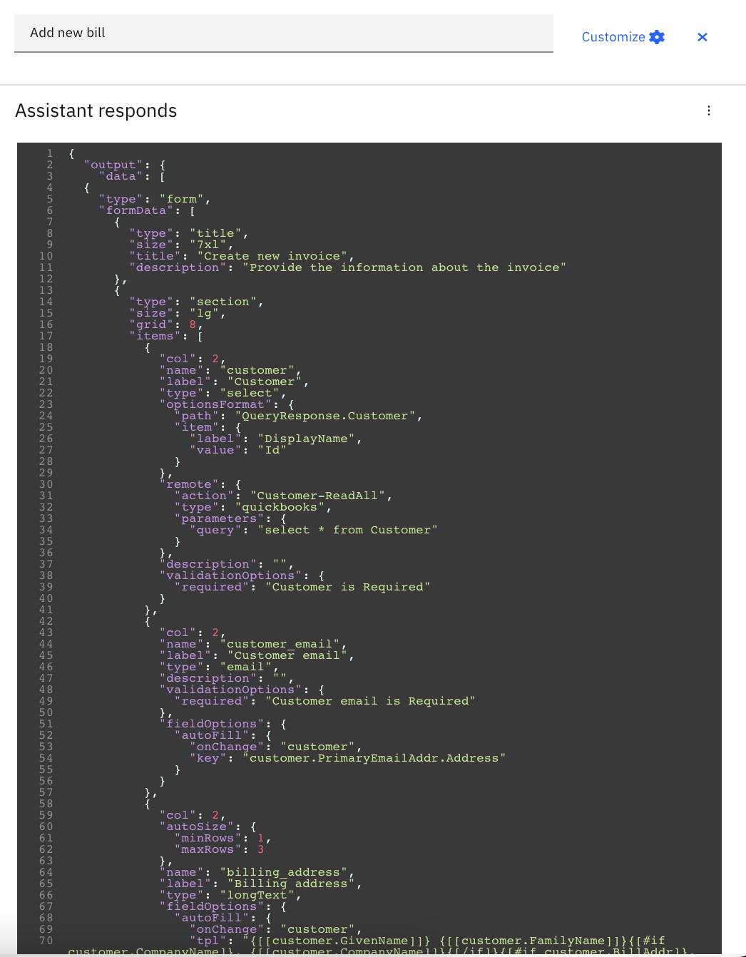 IBM Watson Assistant JSON editor