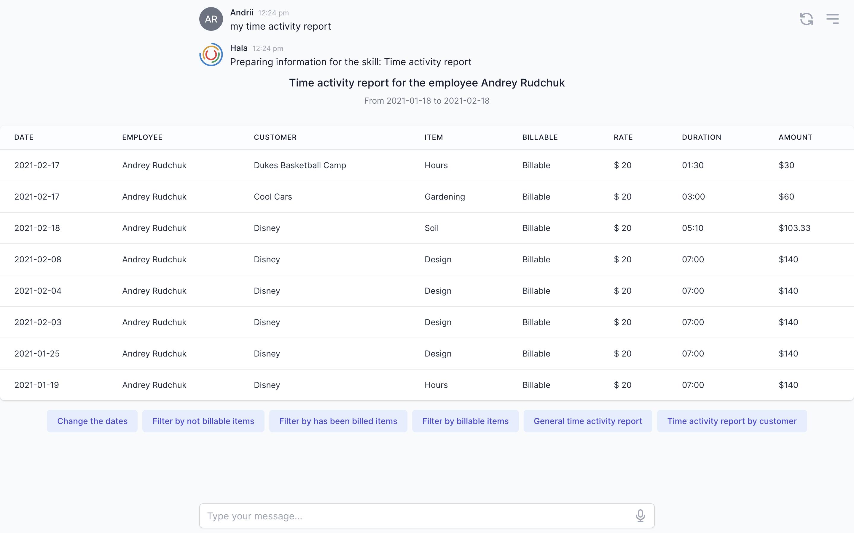 Customer profile user interface